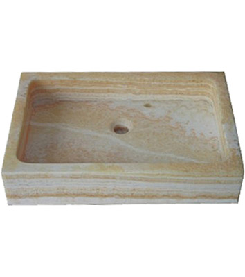 Natural beige stone rectangle above counter vessel sink (SB120)
